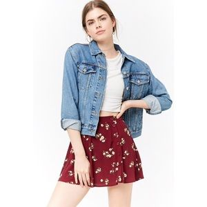 Floral Button-Front Mini Skirt